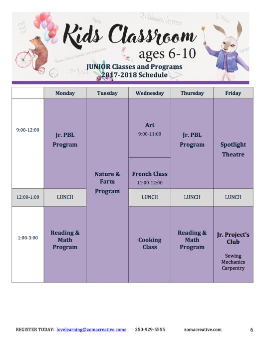 Kids 2017 Schedule