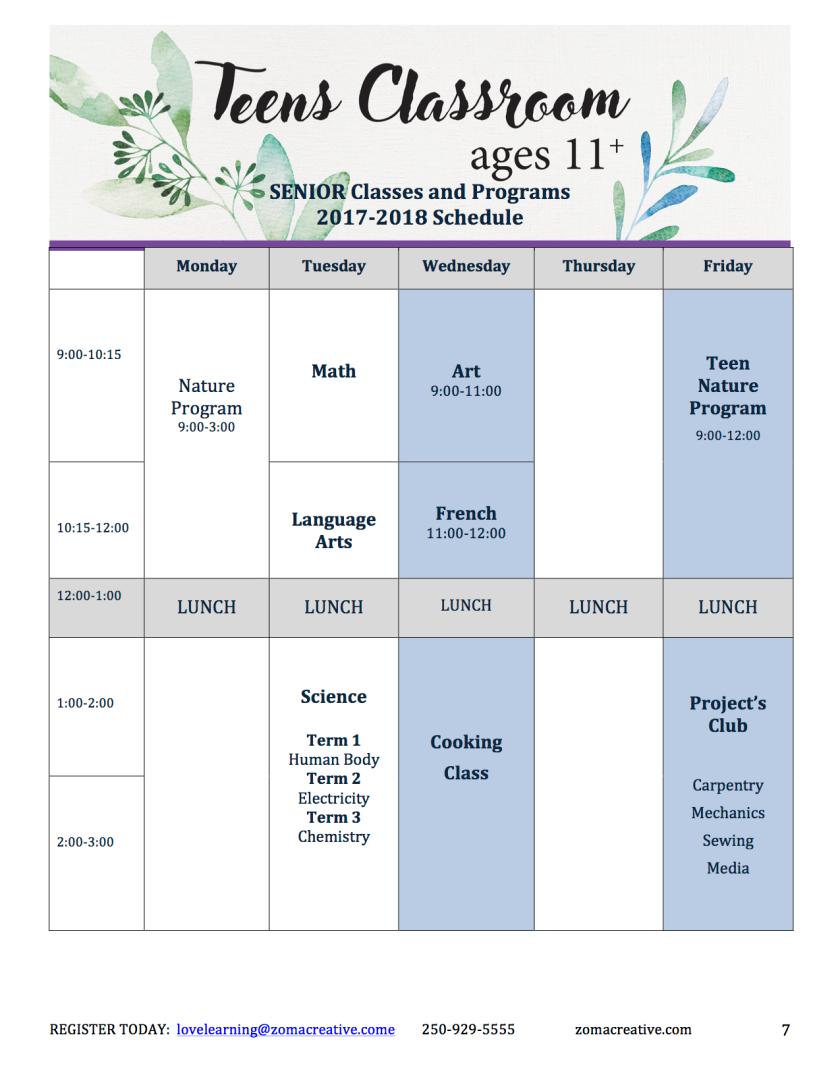 Teen 2017 schedule